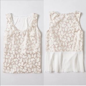 Anthropologie Meadow Rue Sequin Pleated Back Top